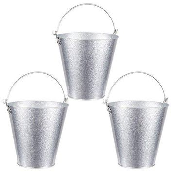 Set of 3 Small Round Galvanized Buckets  Buckets with Handle Iron Beer Buckets for Parties Metal Pails Silver  72 x 72 x 72 Inches