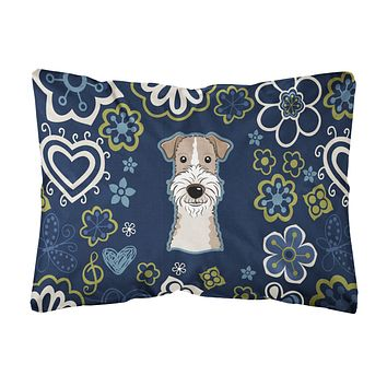 Blue Flowers Wire Haired Fox Terrier Canvas Fabric Decorative Pillow BB5098PW1216