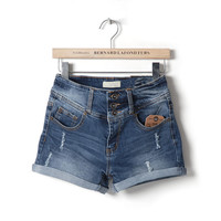 Sexy Ripped Denim Mid Waist Cuff Jean Short