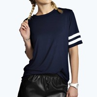Natalie Stripe Sleeve Sports Tee