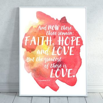 Faith Hope Love, Bible Verse Wall Art,  Scripture Print Christian wall decor,instant download,Love printable,Heart Bible Quote,