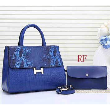 Hermes Women Fashion Leather Handbag Tote Crossbody Shoulder Bag Set Two Piece