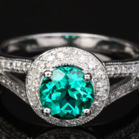 Round Emerald  Engagement Ring Pave Diamond Wedding 14K White Gold Milgrainin,Spilit Shank