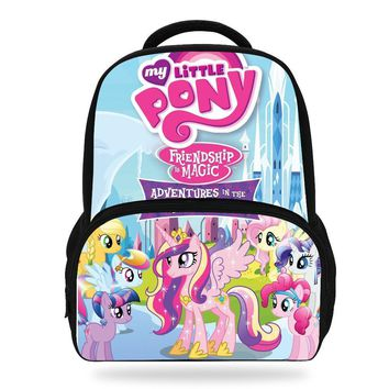 14Inch Popular Cartoon School Bag For Children My Little Pony Backpack For Kids Boys Girls