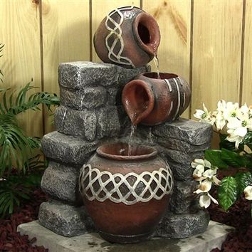 Outdoor Classics Three Pots Pouring Fountain With LED Lights