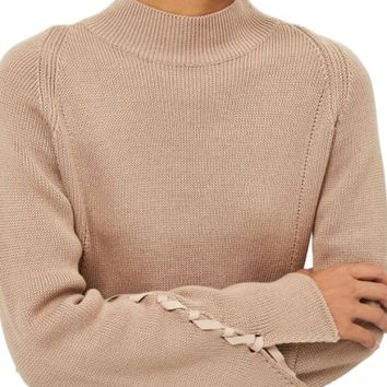 Topshop Lace Sleeve Funnel Neck Sweater   Nordstrom