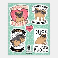 Cute Pug Stickers