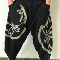 HC0346 New arrival Samurai pants,  Handmade pants, men's fashion, unisex Yoga Harem Pants  - elastic waistband