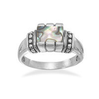 Rectangle Abalone with Bead Edge Ring
