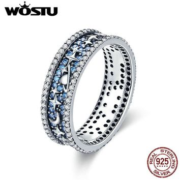 WOSTU High Quality Real 925 Sterling Silver Sparkling Star Sky Finger Rings For Women Silver Jewelry Party Wedding Gift CQR347