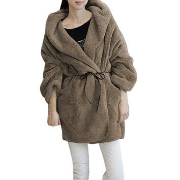 Women Winter Soft Fleece Thick Hooded Coat Hoodie Sweater Jacket Cardigan Casual New Year
