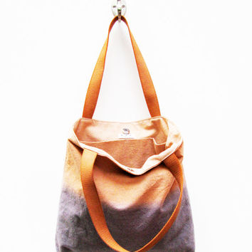 Large canvas tote bag  - burnt orange ombre grey bag - upcycled repurposed canvas drop cloth