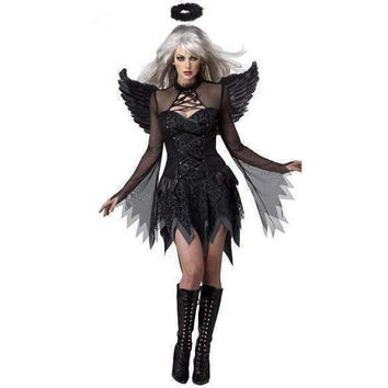 Fallen Angel Lace Halloween Mini Dress Costume For Women