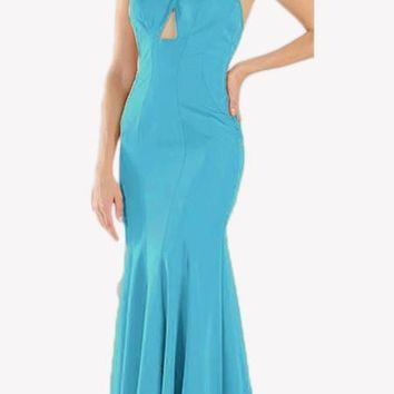 Turquoise Keyhole Bodice Fit and Flare Long Formal Dress