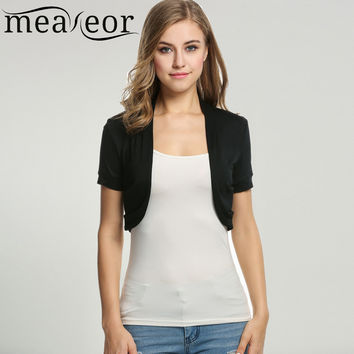 Meaneor Women's Knit Bolero Casual Style Short sleeve Solid Tops short Cardigan Crop Top Black White Shrug outwear size XS-XL