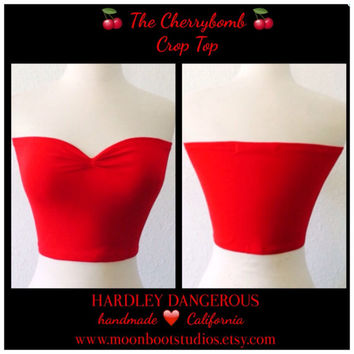 Ready to Ship, The Cherrybomb Crop Top, Lipstick Red ROCKABILLY, Strapless 50s Style Pin Up Tube Top, Sexy Sleeveless Rock n Roll Shirt