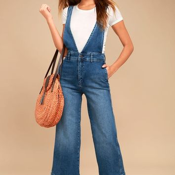 Free People A-Line Medium Wash Overalls