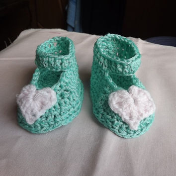 Cute turquoise green  crochet shoes, baby boy booties, Booties with hearts,
