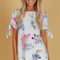 Palm Print Blouse Light Blue