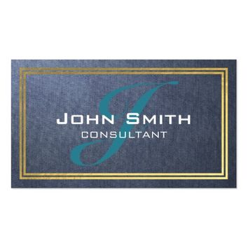 Elegant Blue Linen and Gold Foil Border Consultant Business Card
