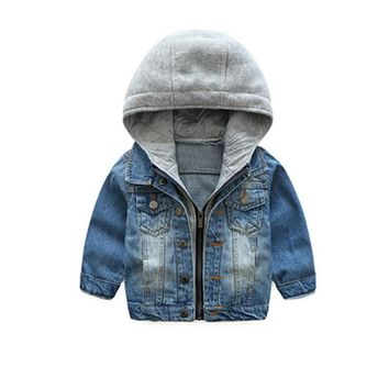 Trendy LILIGIRL Children Boys Casual Denim Jacket for Baby Girls Tops Clothes Coats 2018 Kids Hooded Blue Vintage Outwear Jeans Jackets AT_94_13