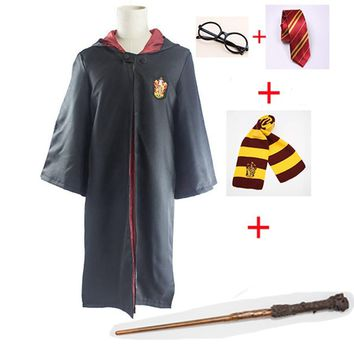 Cosplay Costumes Harri Potter Robe Cape with Tie Scarf Wand Glasses Ravenclaw Gryffindor Hufflepuff Slytherin Robe Cloak