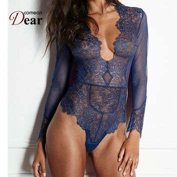Comeondear Women Ladies Clubwear V neck Playsuit Bodycon Bodysuit Long Lace Sleeve Plus Size Transparent Lace Bodysuit RK80400