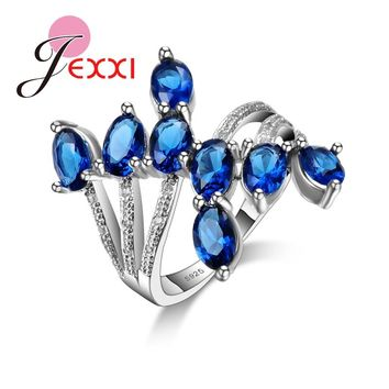 Jemmin Unique Design 2016 Fashion Royal Blue CZ 925 Sterling Silver Party Ring Luxury Wedding Engagement Rings Gift