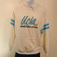 Vintage Soft Rare 70s UCLA BRUINS HOODIE California Script Amazing Unisex Small Medium 50/50 College Sweatshirt