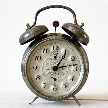 Beautiful vintage german Metal Twin BELL Alarm CLOCK - Wehrle - Loft Deco