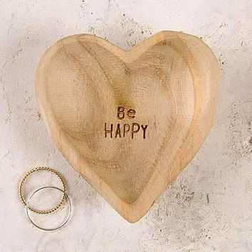 Be Happy Wooden Heart Dish