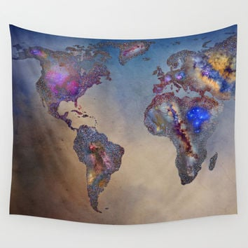 Stars world map. Blue Wall Tapestry by Guido Montañés