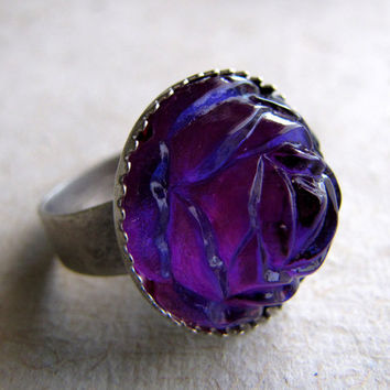 Vintage Rose Ring  Fuchsia Blue Shimmering Rose by AshleySpatula