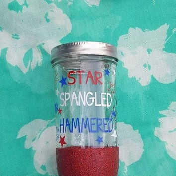4th Of July Tumbler, Star Spangled Mason Jar , Patriotic Mason Jar, Independence Day, Glitter Mason Jar