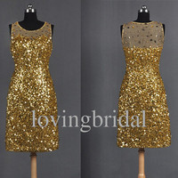 Short Golden Sequins  Prom Dress Evening dress Formal Party Dress Wedding Party Dress Prom Dress Homecoming Dress Bridesmaid Dress
