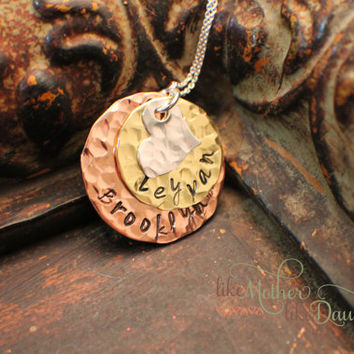 Hand Stamped Jewelry - Personalized Mommy Necklace - Mixed Metal Necklace for Moms, Grandmas, Friends