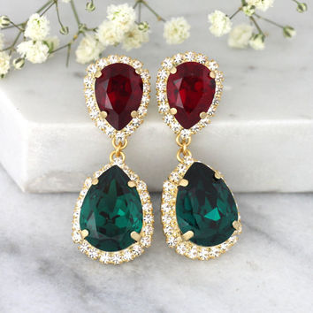 Christmas Wedding, Christmas Gift, Emerlad Ruby Chandeliers, Christmas Jewelry, Emerlad Chandeliers, Gift For Her, Red Green Earrings