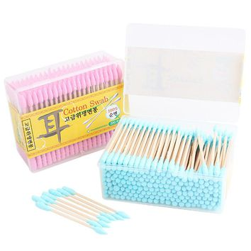 A Box of Korean 200pcs/Lot Candy Color Cotton Swabs Cotton Stick Makeup Tools