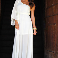 Just Call Me Goddess Maxi Dress: Ivory | Hope's