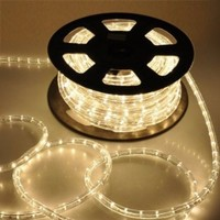 Flexible Warm White Illuminated 546 LED Bulbs Rope Light 50' Ft w/ Power Cord Connectors Holiday Strip Ribbon Decorative Lighting Outdoor Indoor Cuttable 110v
