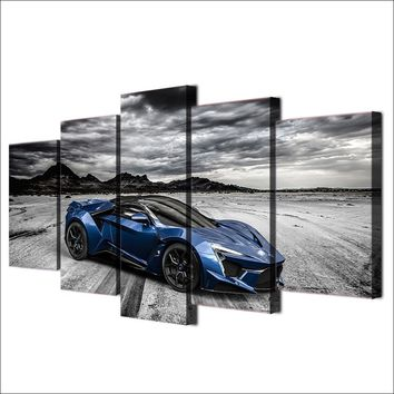 Blue exotic sports car wall art panel picture print on canvas framed UNframed