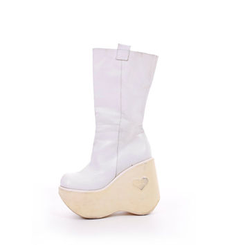 90s Luichiny White Leather Mega Platform Boots Cyber Club Kid Raver Chic Italian Designer Footwear Womens Size US 5 UK 3 EUR 35