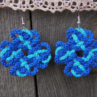 Hand knotted earrings,Braided cotton earrings,Dara Celtic Knot earrings,Unique earrings