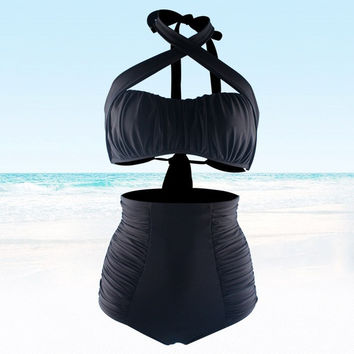 2015 hot black high waisted Plus Size  swimwear bandage swimsuit sexy women Push up bikini = 1956444420