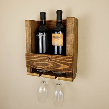 Small Rustic Wood Wine Rack and Wine Glass Holders