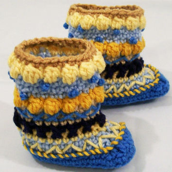Baby Mukluks Granny Boots-Crochet-Blue with Gold--Baby Shower Gift