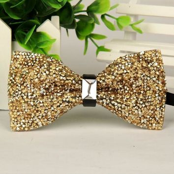 SHENNAIWEI fashion 2016 mens High-grade gold diamond crystal gem bow tie 12cm-6cm butterfly bowties
