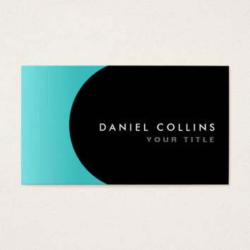 Modern elegant classy aqua blue and black profile business card