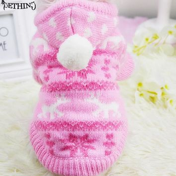 Newest Winter Lovely Pet Dog Clothes hoodie wool sweater Snowflake dog Costume Clothing Jacket Teddy dog Coat for Small Dog Pet