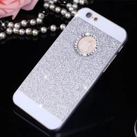 Silver Shinning Rhinestone Bling Bling Apple Logo Window Luxury Phone Back Cover Case for iPhone 4 4s 5 5s 6 6s 6 Plus 6s Plus